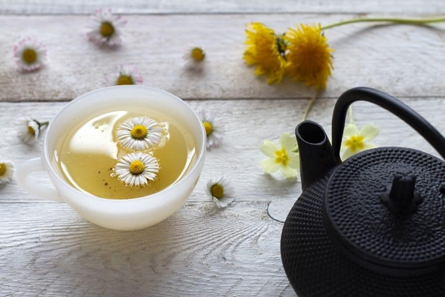 chamomile tea and teapot benefits for hair